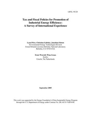 Primary view of object titled 'Tax and Fiscal Policies for Promotion of Industrial EnergyEfficiency: A Survey of International Experience'.