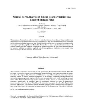 Primary view of object titled 'Normal form analysis of linear beam dynamics in a coupled storagering'.