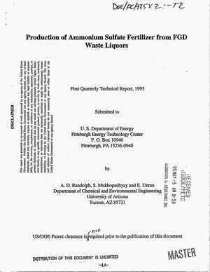Primary view of object titled 'Production of ammonium sulfate fertilizer from FGD waste liquors. First quarterly technical report, [January--March 1995]'.