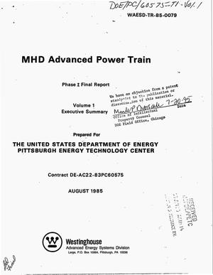 Primary view of object titled 'MHD advanced power train. Phase 1, Final report: Volume 1, Executive summary'.