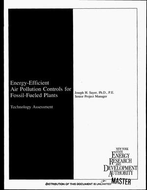 Primary view of object titled 'Energy-efficient air pollution controls for fossil-fueled plants: Technology assessment'.