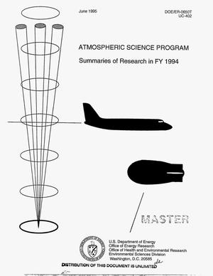 Primary view of object titled 'Atmospheric Science Program. Summaries of research in FY 1994'.