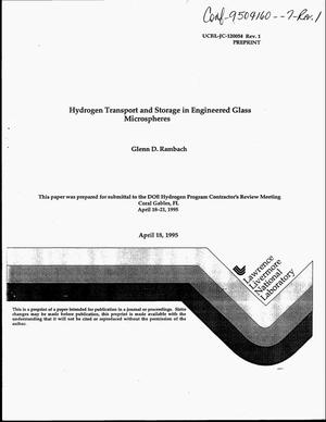Primary view of object titled 'Hydrogen transport and storage in engineered glass microspheres'.