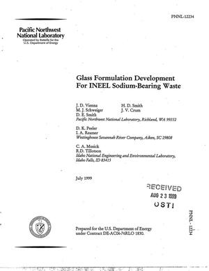 Primary view of object titled 'Glass Formulation Development for INEEL Sodium-Bearing Waste'.
