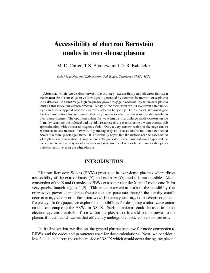 Accessibillity of Electron Bernstein Modes in Over-Dense