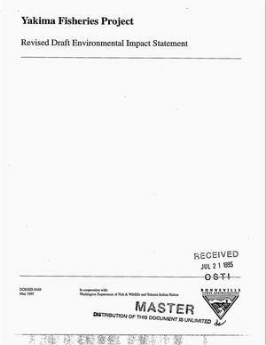 Primary view of object titled 'Yakima Fisheries Project : Revised Draft Environmental Impact Statement.'.