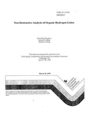 Primary view of object titled 'Non-destructive analysis of organic hydrogen getter'.