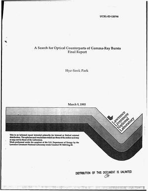 Primary view of object titled 'A search for optical counterparts of gamma-ray bursts. Final report'.