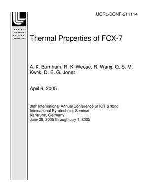 Primary view of object titled 'Thermal Properties of FOX-7'.