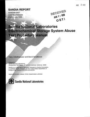 Primary view of object titled 'Sandia National Laboratories Electrochemical Storage System Abuse Test Procedure Manual'.