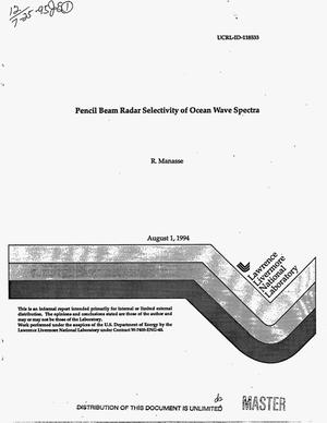 Primary view of object titled 'Pencil beam radar selectivity of ocean wave spectra'.