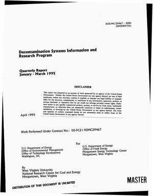 Primary view of object titled 'Decontamination systems information and research program. Quarterly report, January--March 1995'.