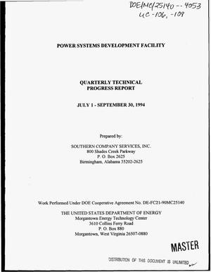 Primary view of object titled 'Power systems development facility. Quarterly technical progress report, July 1, 1994--September 30, 1994'.