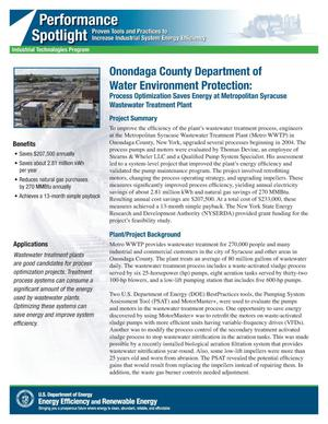 Primary view of object titled 'Onondaga County Department of Water Environment Protection: Process Optimization Saves Energy at Metropolitan Syracuse Wastewater Treatment Plant'.