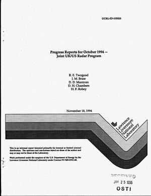 Primary view of object titled 'Progress reports for October 1994 -- Joint UK/US Radar Program'.