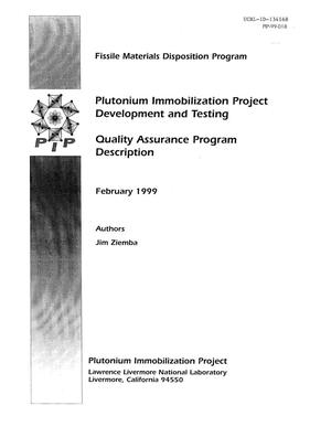 Primary view of object titled 'Plutonium immobilization project development and testing quality assurance program description - February 1999'.
