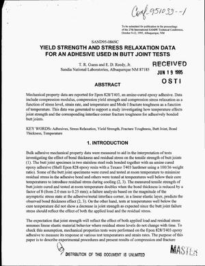 Primary view of object titled 'Yield strength and stress relaxation data for an adhesive used in butt joint tests'.