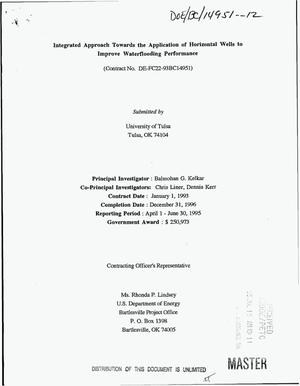 Primary view of object titled 'Integrated approach towards the application of horizontal wells to improve waterflooding performance. [Quarterly report], April 1--June 30, 1995'.