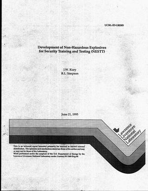 Primary view of object titled 'Development of non-hazardous explosives for security training and testing (NESTT)'.