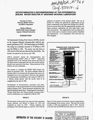 Primary view of object titled 'Decontamination and decommissioning of the Experimental Boiling Water Reactor at Argonne National Laboratory'.