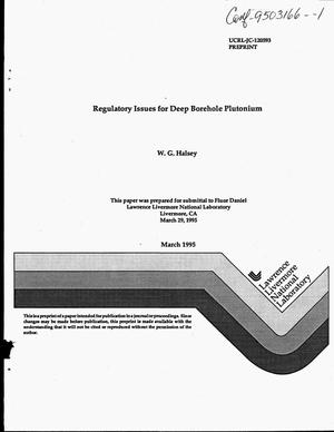 Primary view of object titled 'Regulatory issues for deep borehole plutonium disposition'.