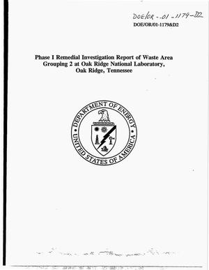 Primary view of object titled 'Phase I remedial investigation report of Waste Area Grouping 2 at Oak Ridge National Laboratory, Oak Ridge, Tennessee'.