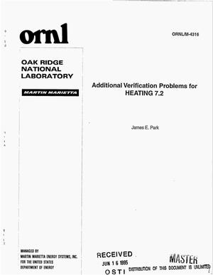 Primary view of object titled 'Additional verification problems for HEATING 7.2'.