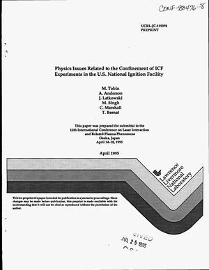 Primary view of object titled 'Physics issues related to the confinement of ICF experiments in the US National Ignition Facility'.