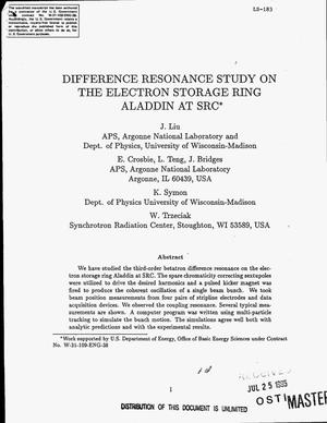 Primary view of object titled 'Difference resonance study on the electron storage ring Aladdin at SRC'.