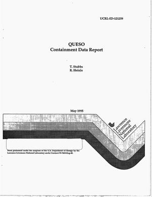 Primary view of object titled 'QUESO: Containment data report'.