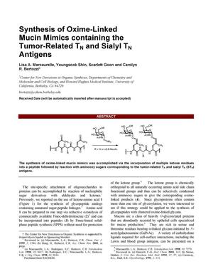 Primary view of object titled 'Synthesis of oxime-linked mucin mimics containing thetumor-related TN and sialyl TN antigens'.