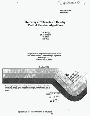 Primary view of object titled 'Recovery of telemetered data by vertical merging algorithms'.