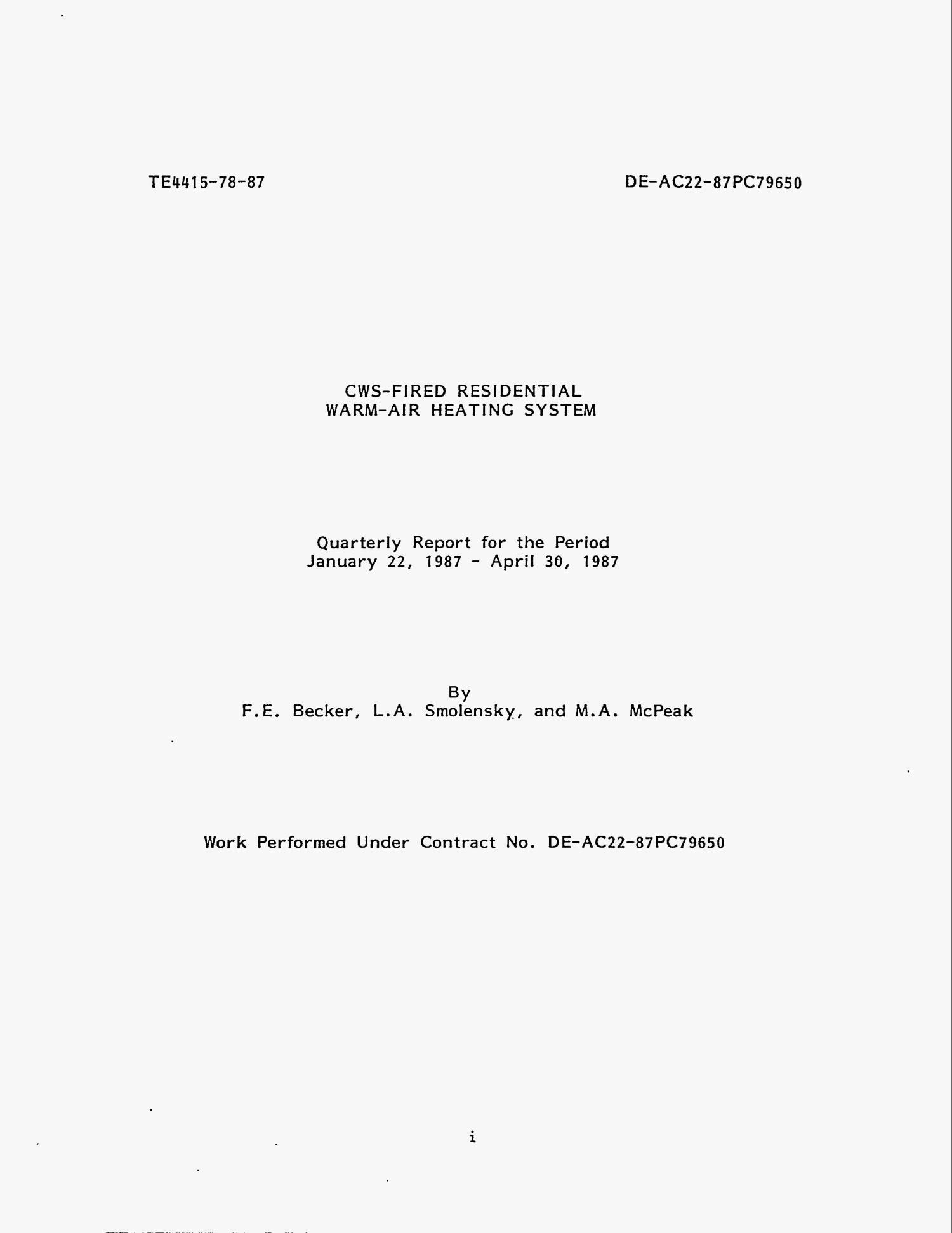 CWS-fired residential warm-air heating system. Quarterly report, January 22, 1987--April 30, 1987                                                                                                      [Sequence #]: 4 of 57