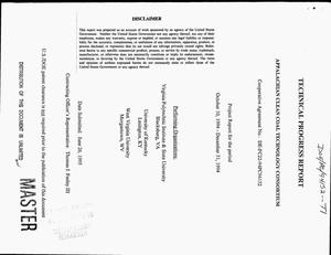 Primary view of object titled 'Appalachian Clean Coal Technology Consortium. Technical progress report, October 10, 1994--December 31, 1994'.