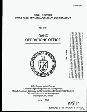 Primary view of object titled 'Cost Quality Management Assessment for the Idaho Operations Office. Final report'.