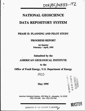 Primary view of object titled 'National Geoscience Data Repository System: Phase 2, Planning and pilot study. Progress report, February--April 1995'.
