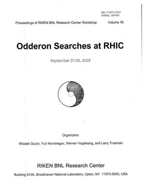 "Primary view of object titled 'PROCEEDINGS OF RIKEN BNL RESEARCH CENTER WORKSHOP ENTITLED ""ODDERON SEARCHES AT RHIC"" (VOLUME 76)'."