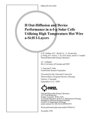 Primary view of object titled 'H Out-Diffusion and Device Performance in n-I-p Solar Cells Utilizing High Temperature Hot Wire a-Si:H I-Layers'.