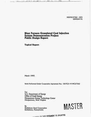 Primary view of object titled 'Blast Furnace Granulated Coal Injection System Demonstration Project public design report. Topical report'.