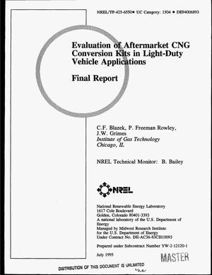 Primary view of object titled 'Evaluation of aftermarket CNG conversion kits in light-duty vehicle applications. Final report'.