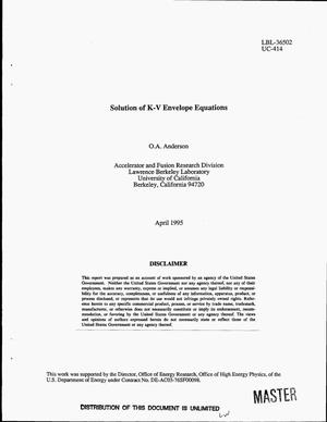 Primary view of object titled 'Solution of K-V envelope equations'.