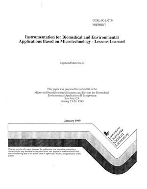 Primary view of object titled 'Instrumentation for biomedical and environmental applications based on microtechnology lessons learned'.