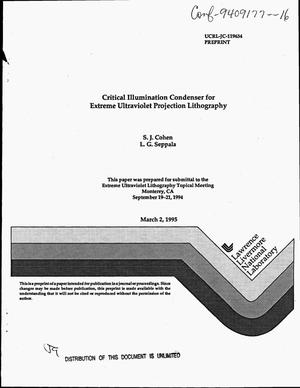 Primary view of object titled 'Critical illumination condenser for extreme ultraviolet projection lithography'.