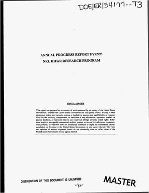 Primary view of object titled 'NRL HIFAR research program annual progress report FY92/93'.