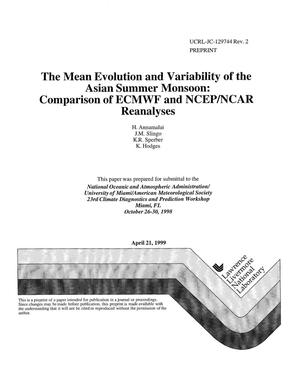 Primary view of object titled 'The mean evolution and variability of the Asian summer monsoon: comparison of ECMWF and NCEP/NCAR reanalyses'.