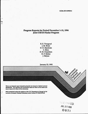 Primary view of object titled 'Joint UK/US Radar Program progress reports for period December 1--31, 1994'.