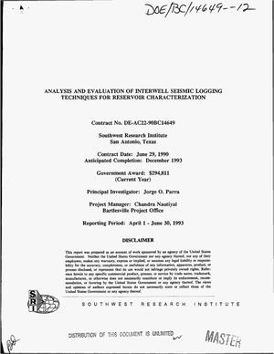 Primary view of object titled 'Analysis and evaluation of interwell seismic logging techniques for reservoir characterization. [Quarterly report], April 1--June 30, 1993'.