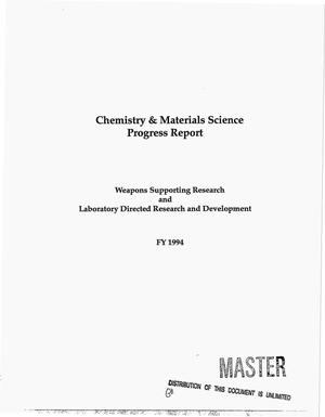 Primary view of object titled 'Chemistry and materials science progress report, FY 1994'.