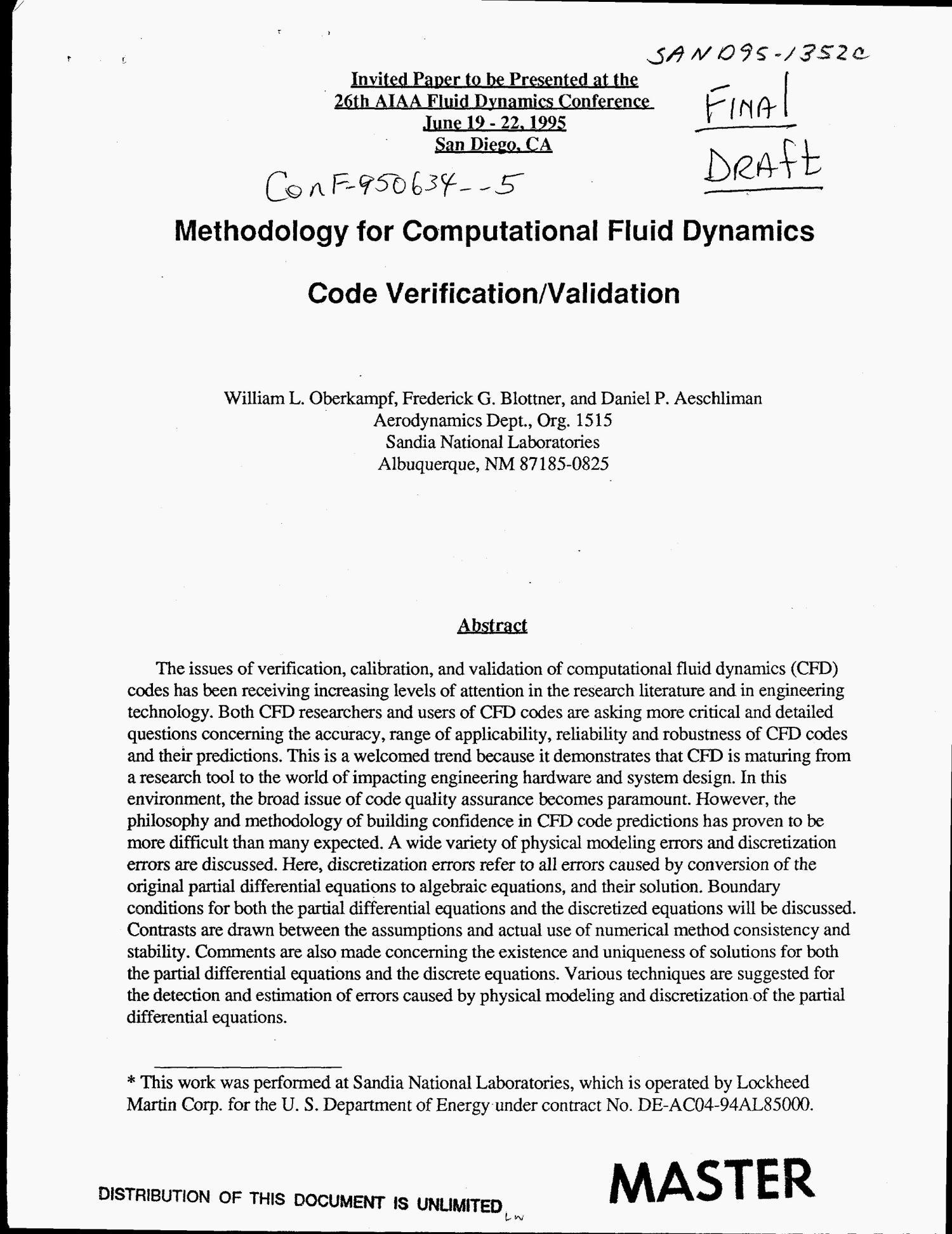 Methodology for computational fluid dynamics code verification