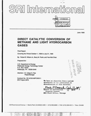 Primary view of object titled 'Direct catalytic conversion of methane and light hydrocarbon gases. Final report, October 1, 1986--July 31, 1989'.